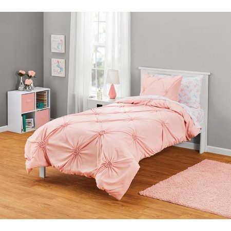 Your Zone Diamond Gather Pink Comforter Set, 1