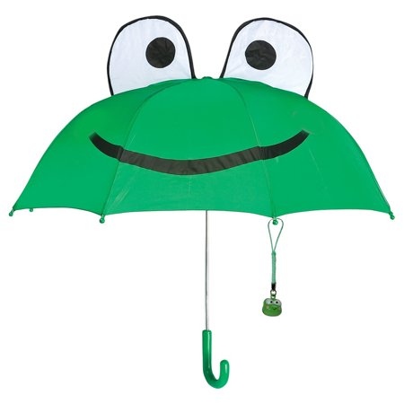 Kids Frog Umbrella for Children 28 inch Rain Gear with Cute Frog Bell Pendant