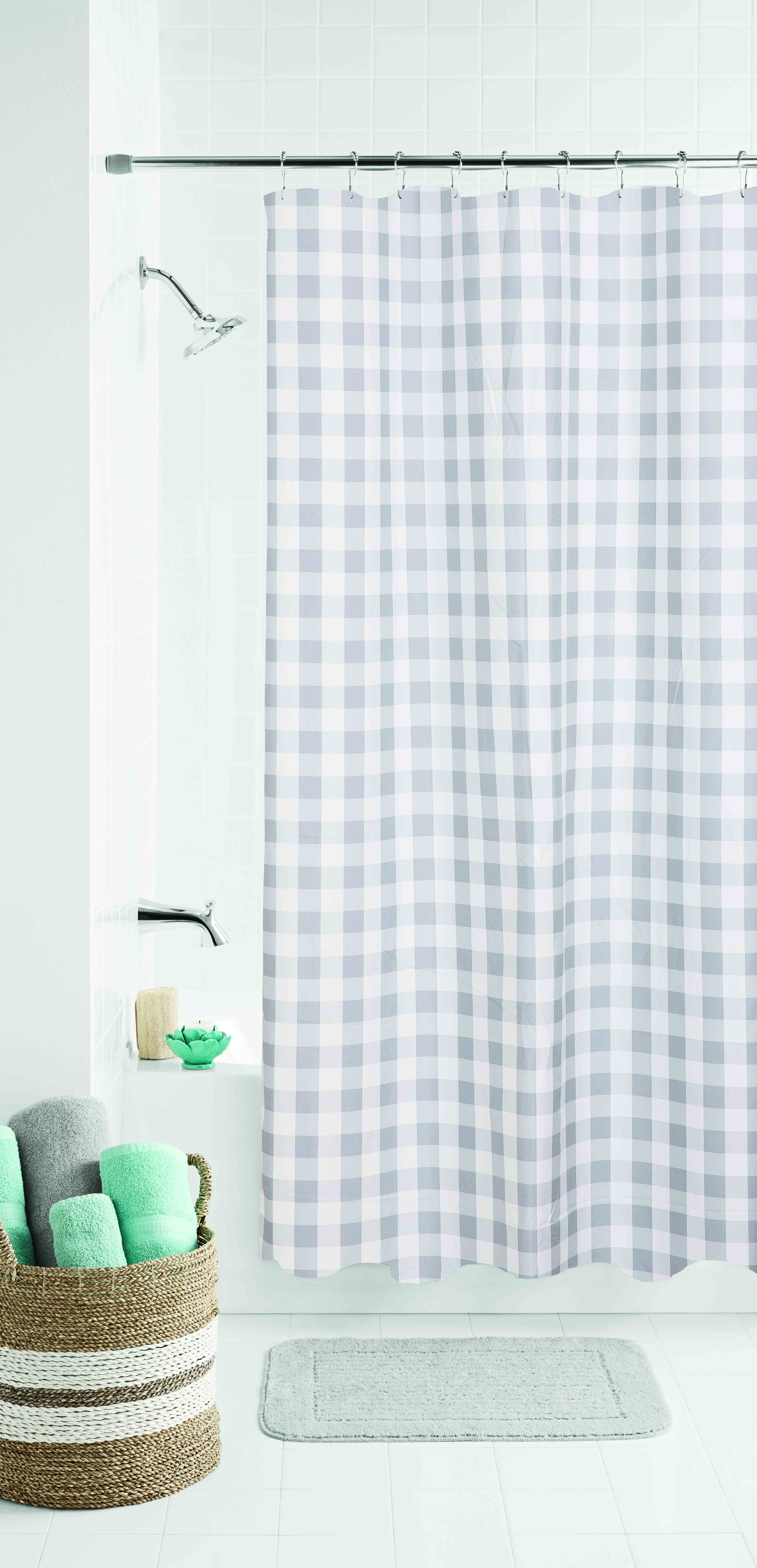 Mainstays Classic Gingham Fabric Shower Curtain