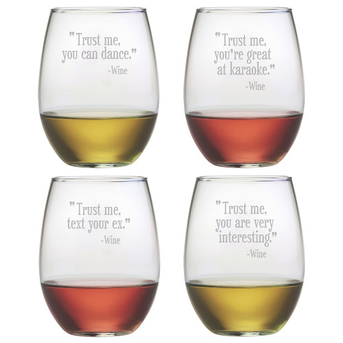 susquehanna glass 4 piece trust me 19 oz stemless wine glass set