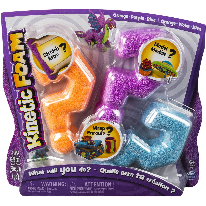 Kinetic Foam, Multi 3pk Purple, Orange, Blue
