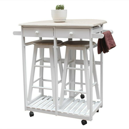 Ktaxon Kitchen Island Trolley Cart 3 Piece Dining Table Set with Wood Table and Stools ()