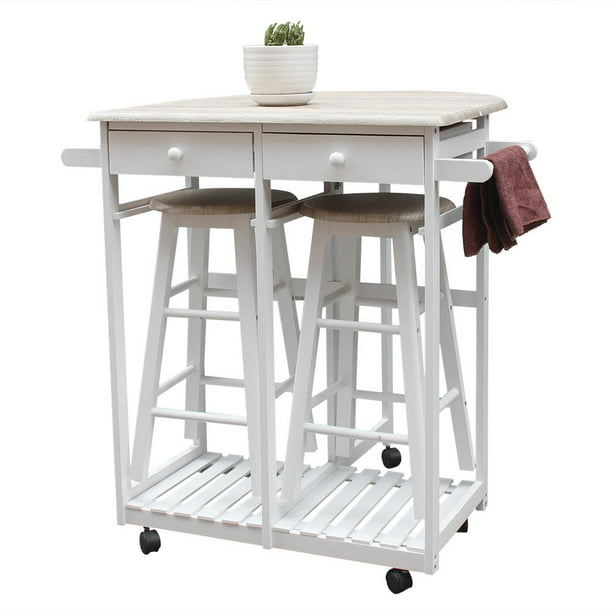 Ktaxon Kitchen Island Trolley Cart 3 Piece Dining Table Set With Wood Table And Stools Walmart Com Walmart Com