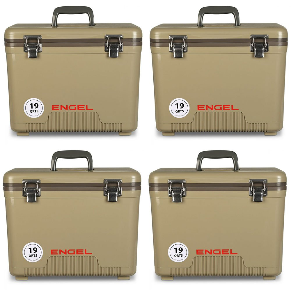 Engel Coolers 19 Quart Lightweight Insulated Cooler Drybox, Tan (4 Pack)