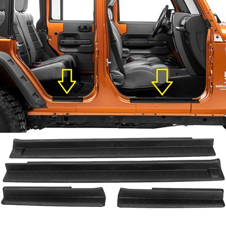 4pc Door Entry Sill Scuff Guards Set For 2007 - 2017 Jeep Wrangler JK - Black (2004 Jeep Wrangler Door)