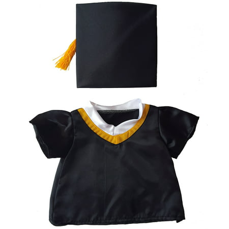 Black Pug Stuffed Animal (Graduation Cap & Gown Outfit Teddy Bear Clothes Fits Most 14