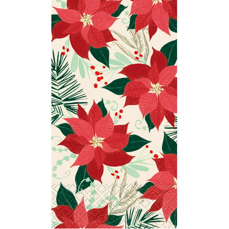 Red & Gold Poinsettia Christmas Paper Guest Napkins, 7.75 x 4.5 in, 16ct