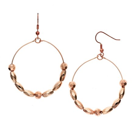 X & O 14KT Rose Gold Plated Rosette and Faceted Oval Beaded Earring