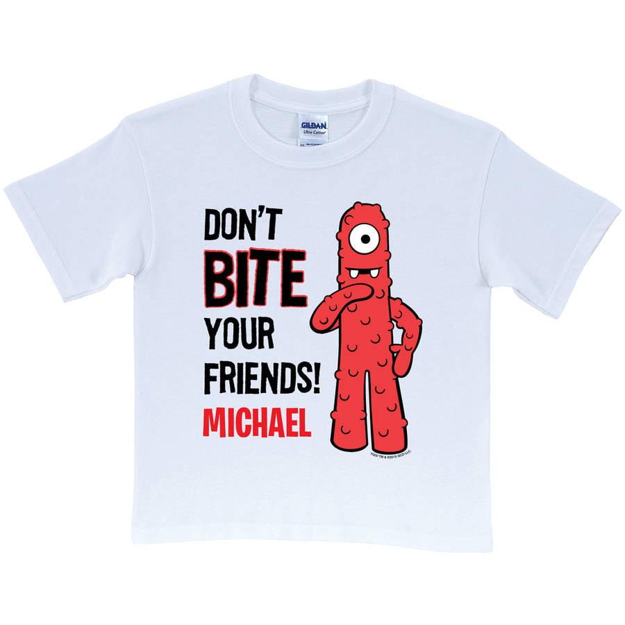 Personalized Yo Gabba Gabba Don't Bite Your Friends Kids' T-Shirt, White