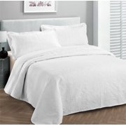 Fancy collection 3pc Bed Spread Embossed Bedsocover Solid Over size King / California king White New
