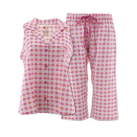 Hanes Womens Pink Floral Capri Cotton Pajamas (Pink Capri Pajama)