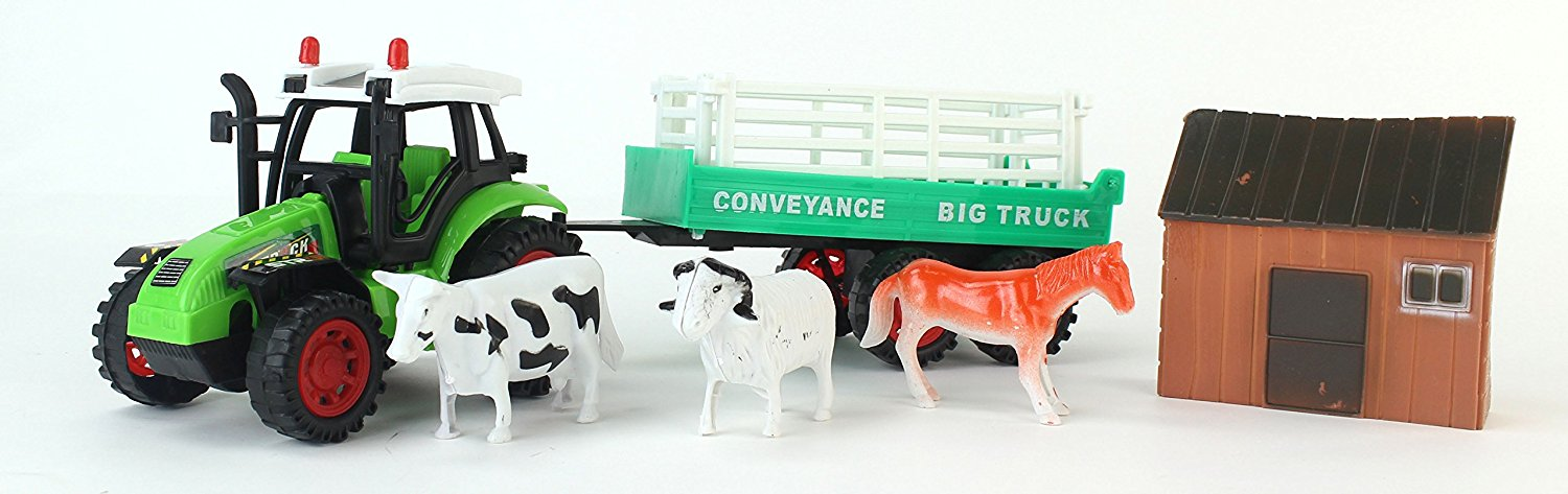 Big Farm Friction Powered Toy Green Farm Tractor Trailer Playset w. Attachable Trailer,... by Velocity Toys