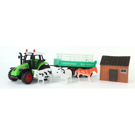 Big Farm Friction Powered Toy Green Farm Tractor Trailer Playset W  Attachable Trailer  House Figure     3 Animal Figures