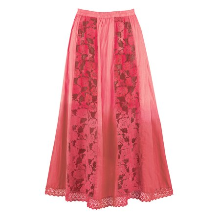 Panel Skirt (Women's Ombre Skirt with Lace Panels and Crochet Hemline with Comfortable Elastic Waistband, Medium, Coral)