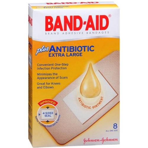 BAND-AID Plus Antibiotic Bandages Extra Large All One Size 8 Each (Pack of 3)