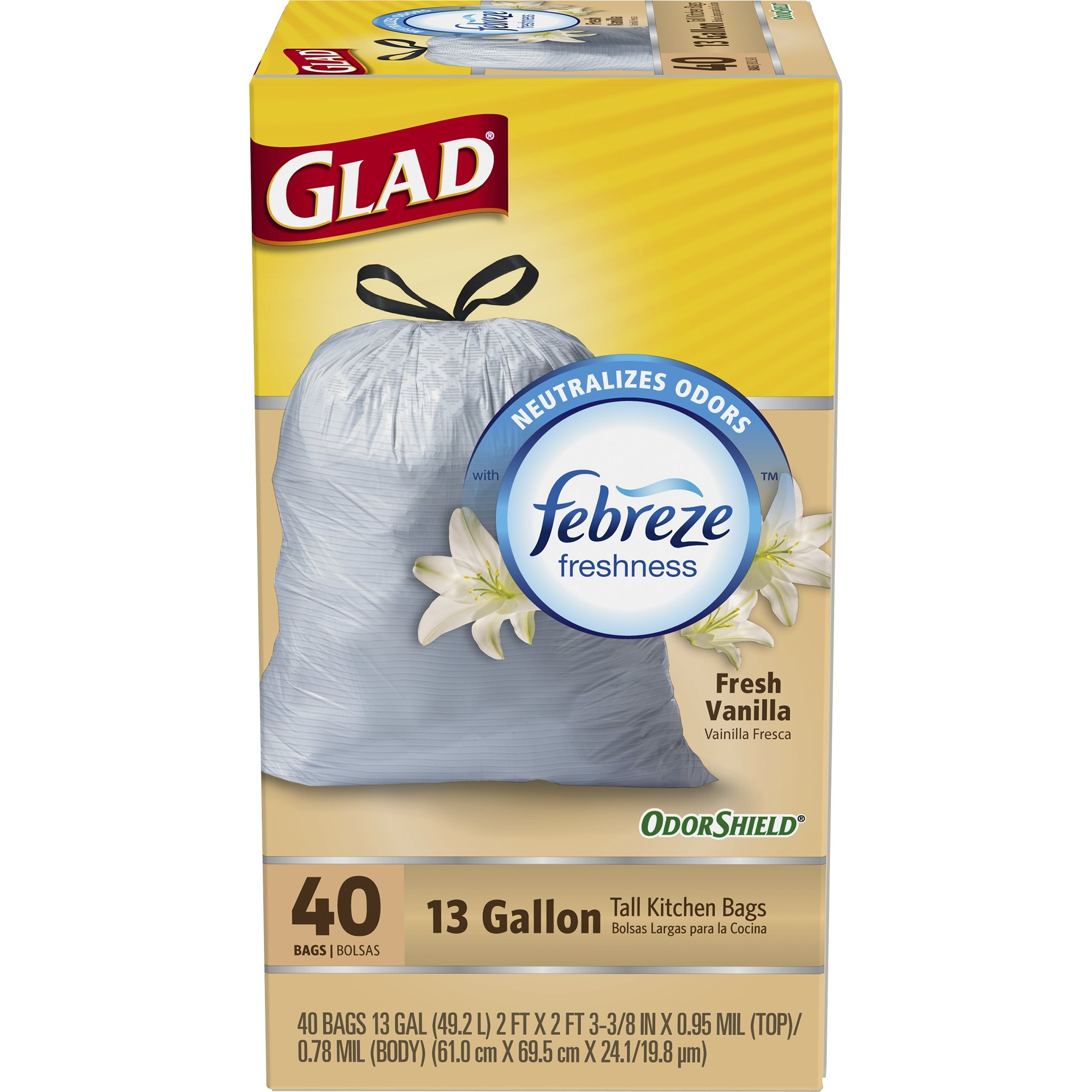 Glad OdorShield Tall Kitchen Drawstring Trash Bags, Vanilla, 13 Gallon, 40 Count