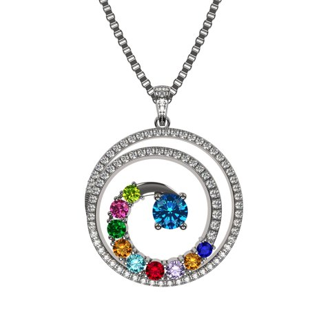 - NANA Swirl Pendant Necklace 1 to 9 Stones with a 1mm 22