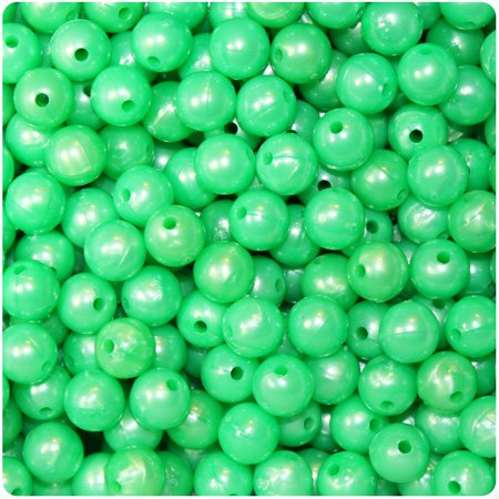 BeadTin Bright Green Pearl 8mm Round Craft Beads