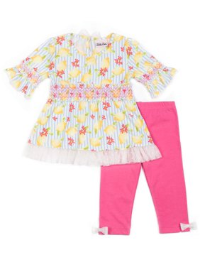 6726a1c6bb61b Product Image Long Sleeve Ruffled Yummy Printed Top & Capri, 2pc Outfit Set  (Baby Girls &. Product TitleLittle LassLong ...