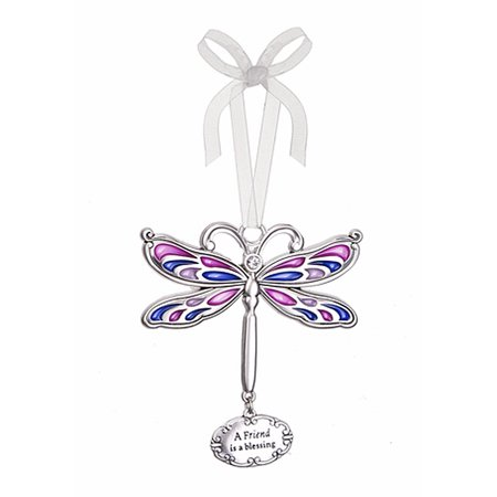 A Friend is a Blessing Dragonfly Charm Ornament - By Ganz