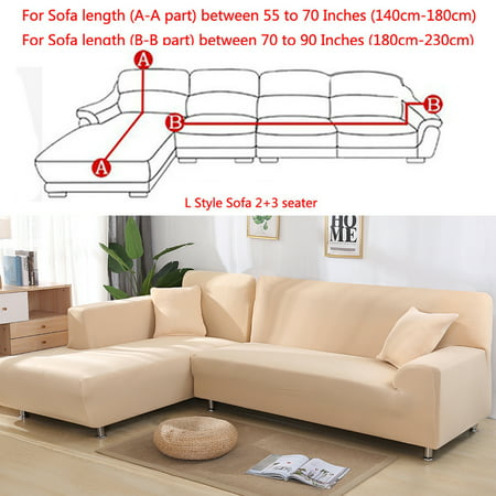 All-Cover Sectional Sofa L Shape, 2pcs Slipcover Elastic Washable Couch  Cover, 2seater (55 to 74Inch)+3 Seater(74 to 90 Inch) Sofa Slipcover Couch  ...
