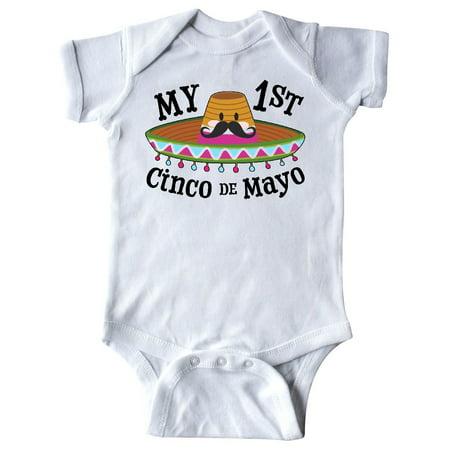 My First Cinco de Mayo- sombrero and mustache Infant Creeper](Black And White Sombrero)