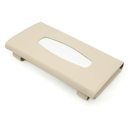 Universal Beige Faux Leather Napkin Paper Facial Tissue Box Holder for Car