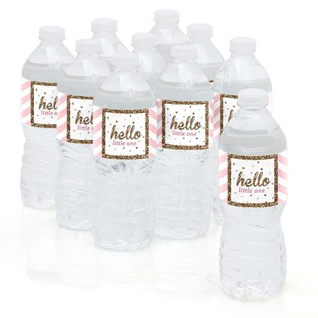 Hello Little One - Pink and Gold - Girl Baby Shower Party Water Bottle Sticke...