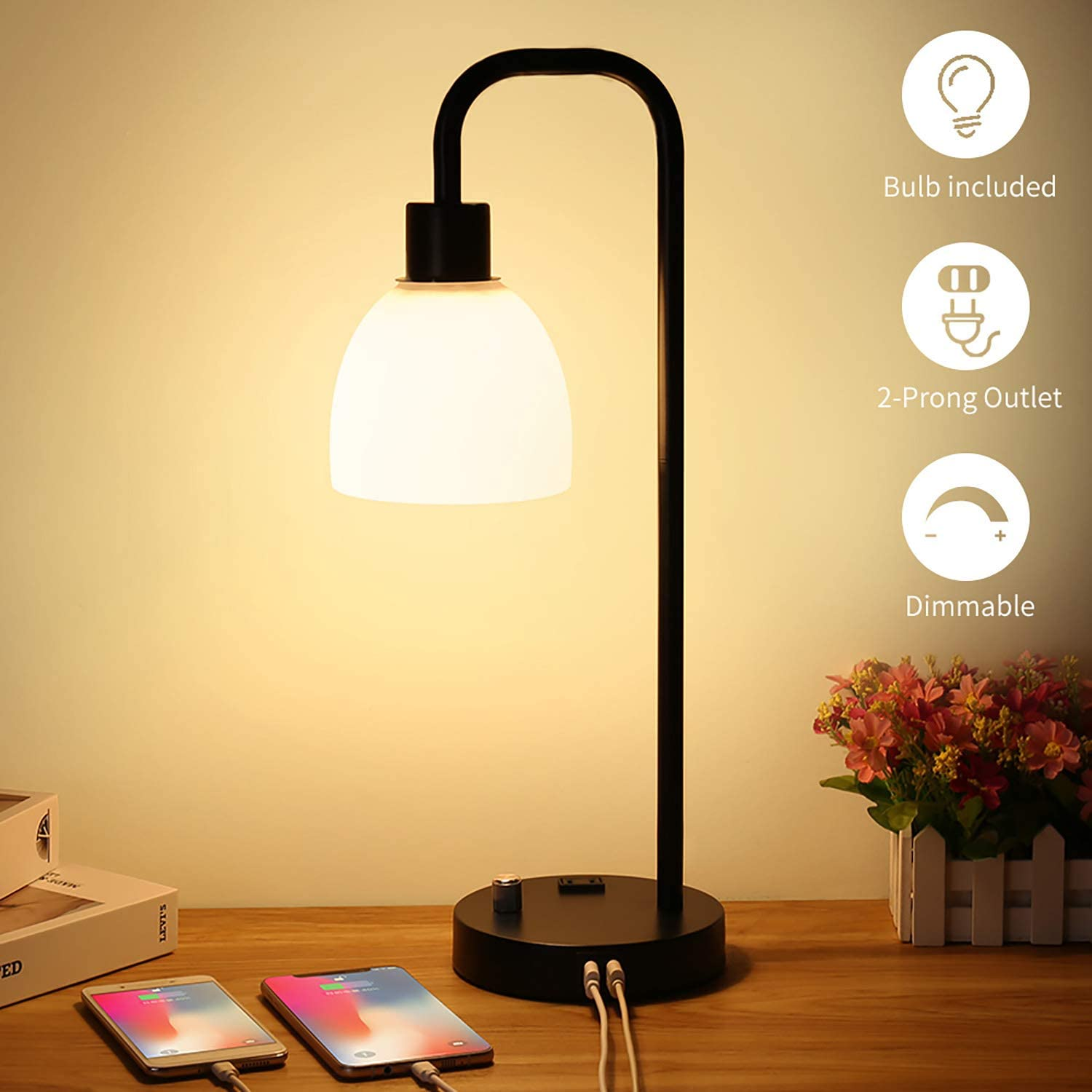 Zermurd Industrial Table Lamp Stepless Dimmable Modern Bedside Lamp With Two Usb Ports And Ac Outlet Opal Glass Shade Black Vintage Nightstand Lamp For Bedroom Living Room Office 7w Bulb Included