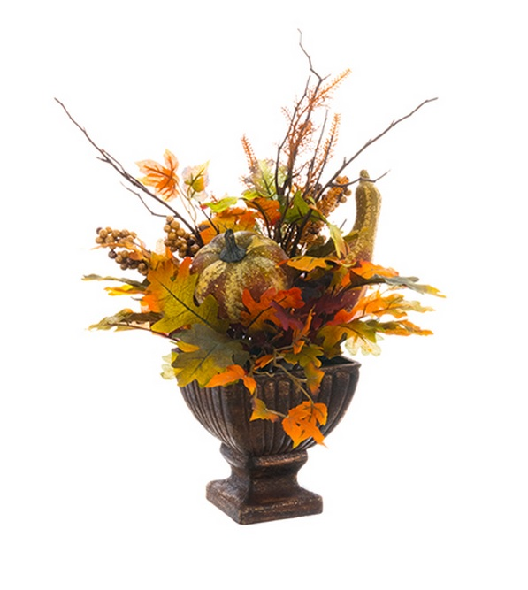 "16"" Autumn Harvest Pumpkin, Oak, and Berry in Urn Thanksgiving Centerpiece Decoration"
