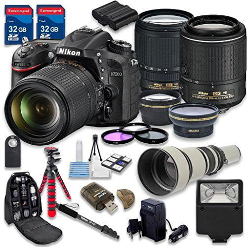Nikon D7200 DSLR Camera with 18-140mm Lens + 55-200mm f/4...