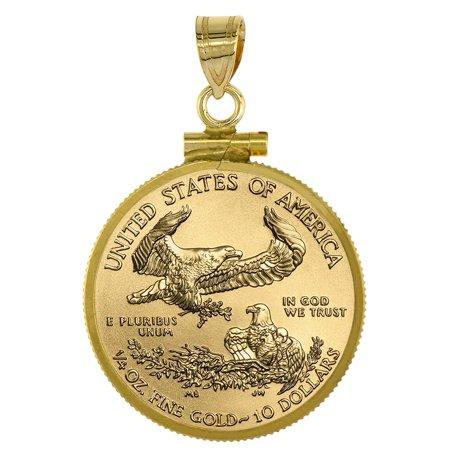 14k Gold 1/4 oz Gold Eagle Bezel Plain 22mm Coin $5 Gold Half Eagle Screw Top