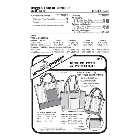 Rugged Tote Sewing Pattern (Free Sewing Patterns Totes)