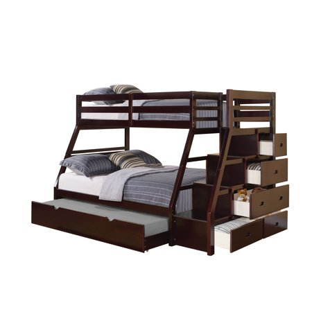Acme Twin Over Full Bunk Bed Storage Ladder Trundle Espresso