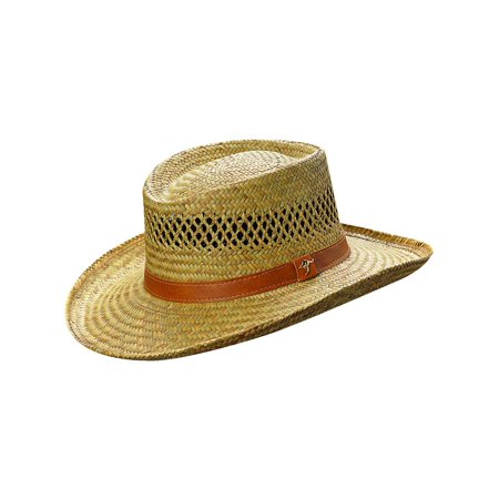 (Size Small Rush Straw Lightweight Gambler Hat with Wide Brim)