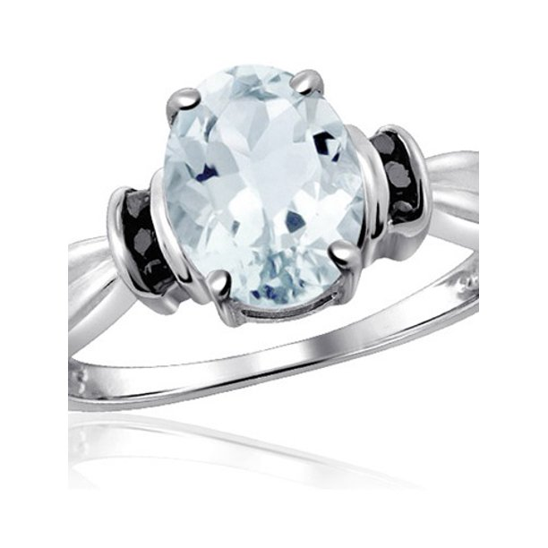 Jewelersclub 1 66 Carat T G W Aquamarine Gemstone And Black Diamond Accent Ring Walmart Com Walmart Com