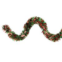 """Northlight 12' x 3.5"""" Unlit Green/Red Wide Cut Christmas Tinsel Garland"""