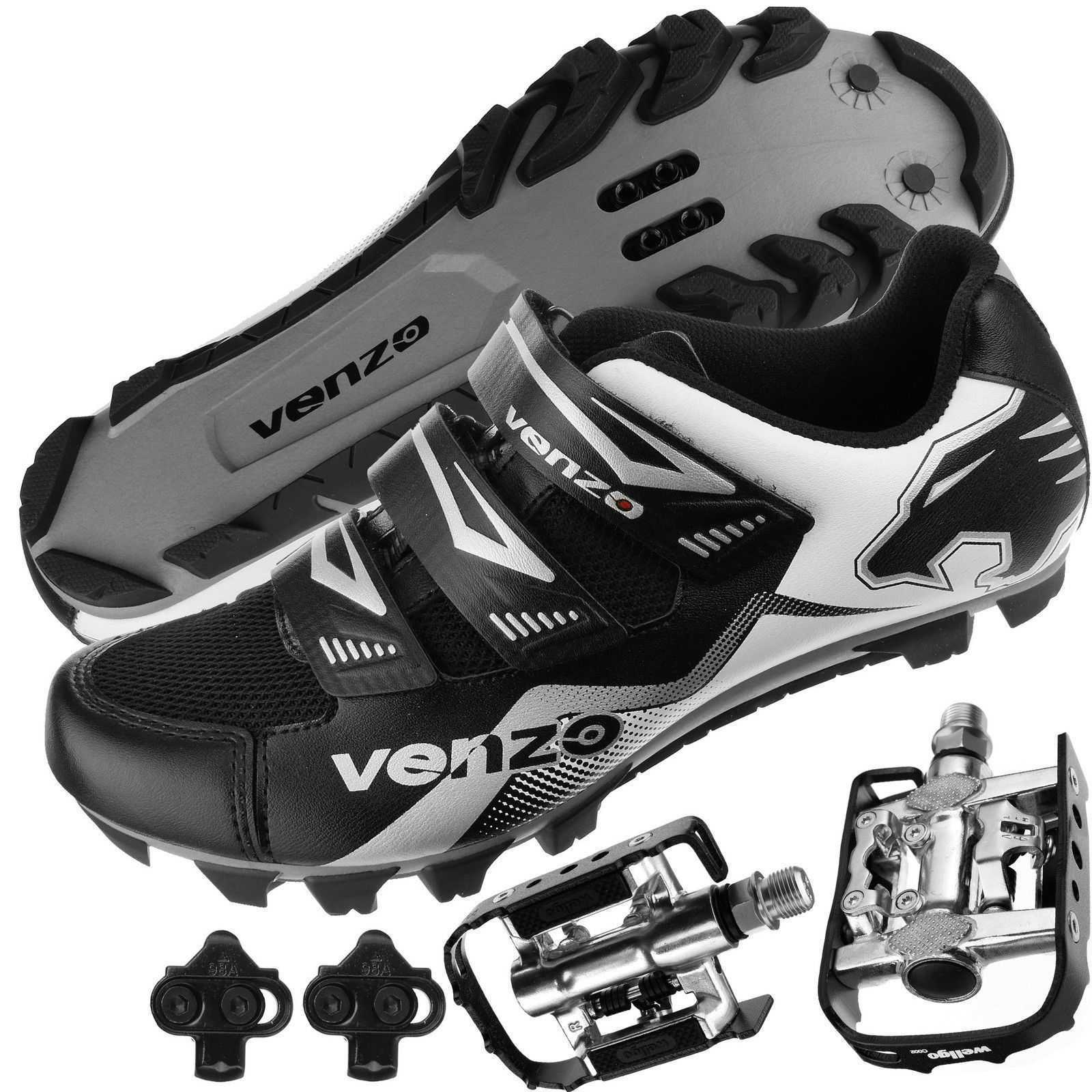 with MTB Type Clipless Cleats 46 Multi-Use Pedals Venzo Mountain Bike Bicycle Cycling Compatible with Shimano SPD Men or Women Shoes