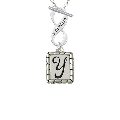 Pebble Border Initial - Y & Beyond Infinity Toggle Chain Necklace