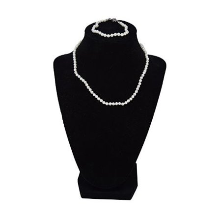 Girls Simulated Pearls Bracelet and 14 Inch Necklace Set (White - 6 in Bracelet) 8mm White Pearl Necklace Bracelet