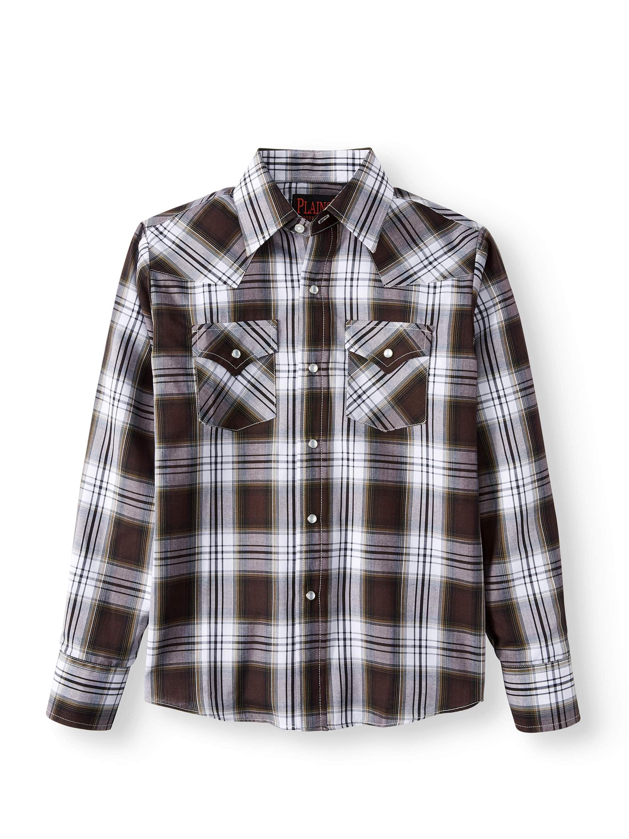Plains Long Sleeve Western Plaid Button Up Shirt (Little Boys & Big Boys)