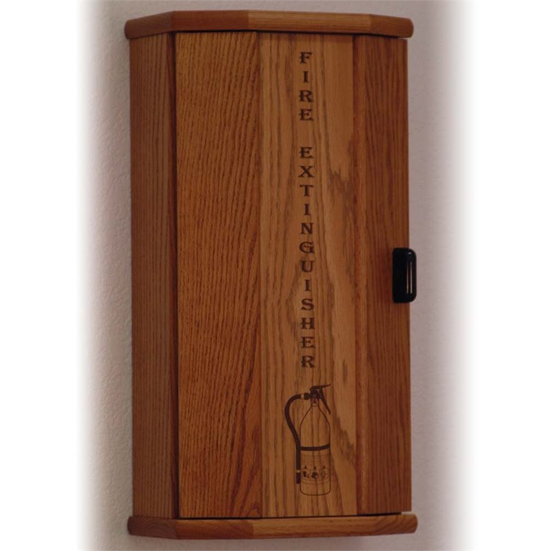 Wooden Mallet 10 lbs Engraved Fire Extinguisher Cabinet in Medium Oak