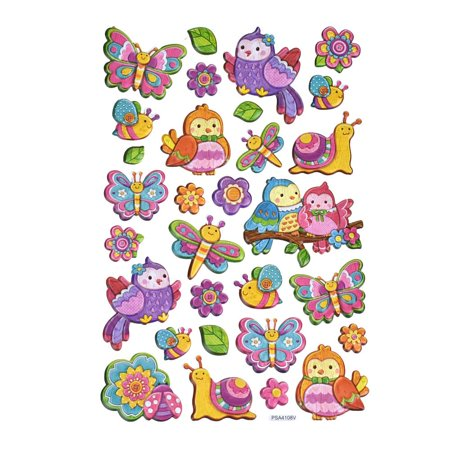 Embroidered 3 D Stickers - Flying Friends Birds & Butterflies 3D Puffy Stickers, 30-Piece