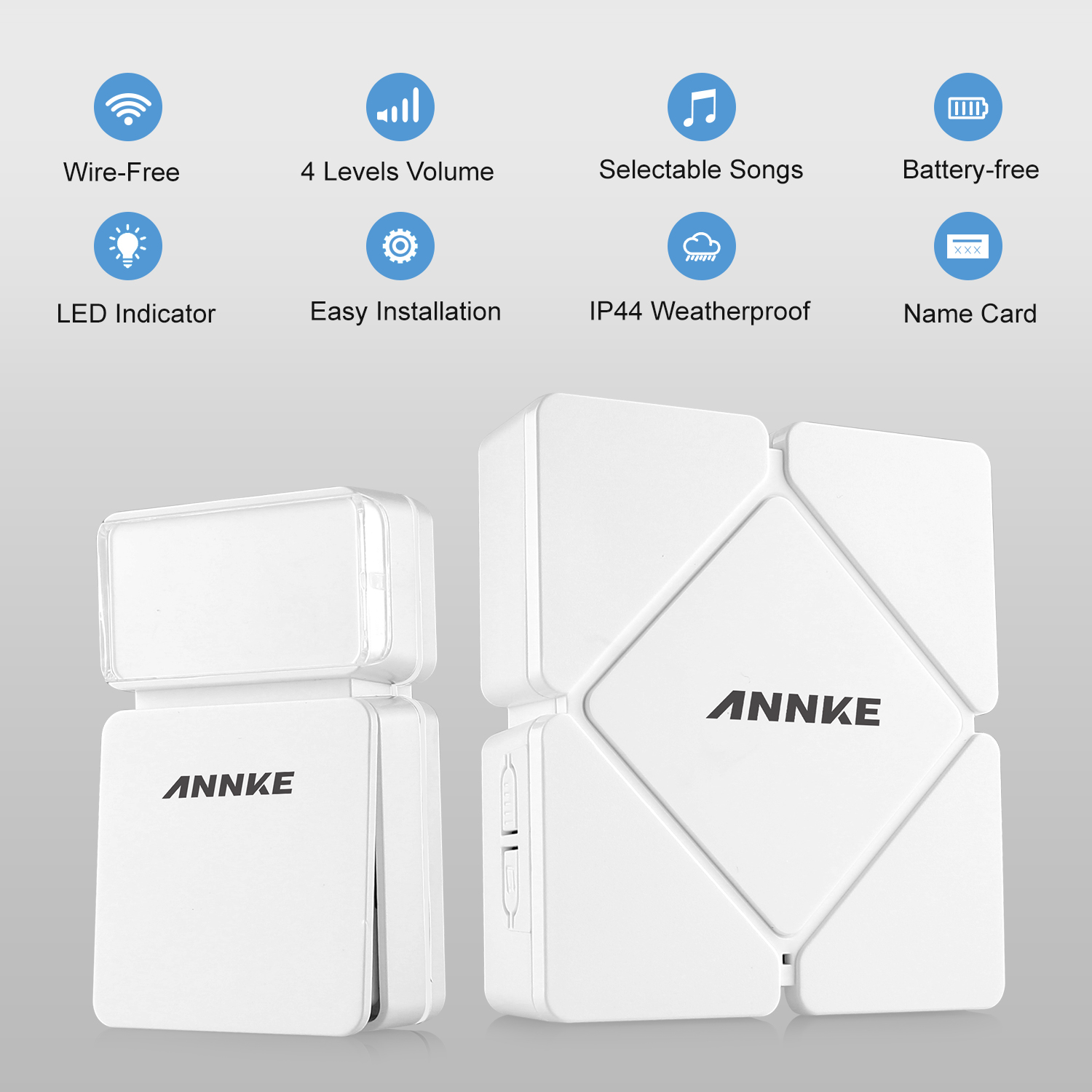 ANNKE Battery-Free Wireless 110m Waterproof Doorbell Chime Kit