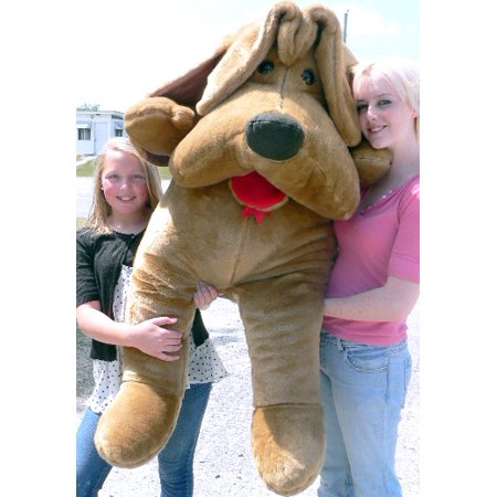 Big Plush Dog 5 Foot Brown Soft Huge Stuffed Puppy with Floppy Ears Made in USA (Dogs With Floppy Ears)