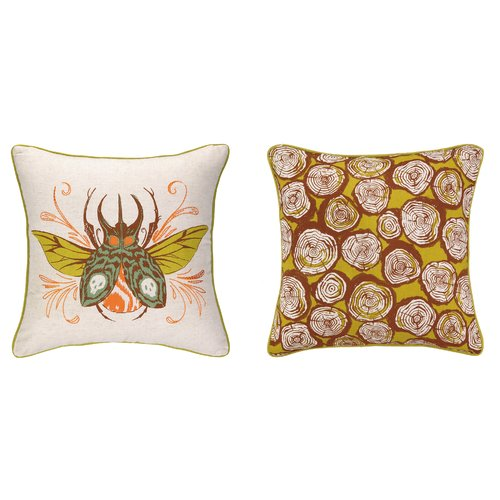 Sarah Watts Insect Reversible Printed and Embroidered Throw Pillow
