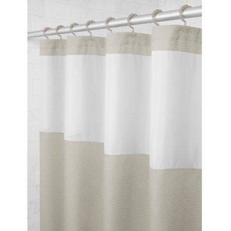 Maytex Smart Curtain Hendrix View Fabric Shower With Attached Roller Glide Hooks
