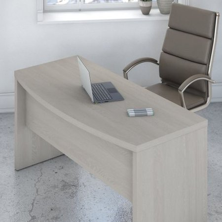 60W Bow Front Desk with 36W Return BSH Veneer Bow Front Desk
