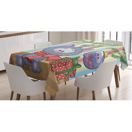 Gifts $25 And Under (Christmas Decorations Tablecloth, Kitten with Scarf under Tree with Ball Decorations and Gift Box Cat Themed, Rectangular Table Cover for Dining Room Kitchen, 60 X 84 Inches, Multi, by)