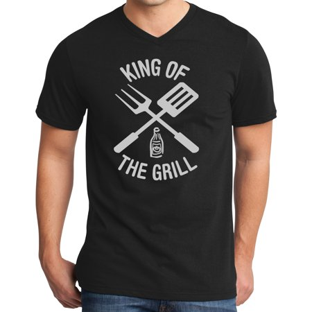 Mens King of the Grill BBQ Cookout V-neck Tee Shirt - Black, Extra Small
